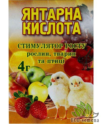 Янтарная Кислота, Украина, стимулятор роста, 4 г