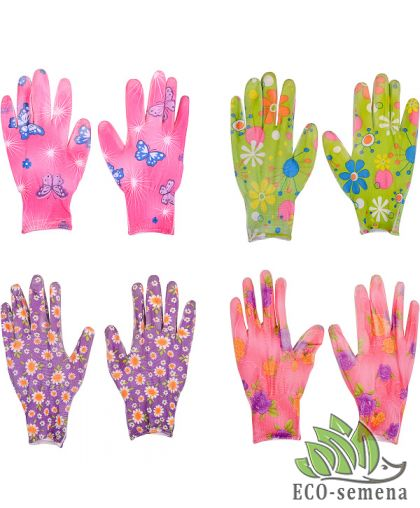 Перчатки Стрейч садовые, с нитриловым полуобливом, цветные, М